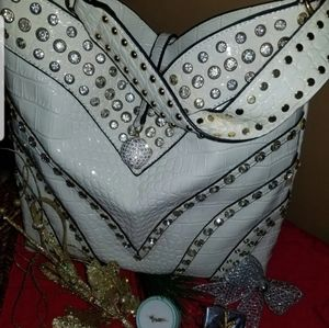👠Ashley Stewart White Sparkle Shoulder Hand Bag